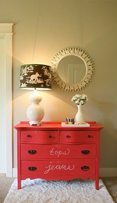 Love the idea of chalkboard paint on an old dresser- great for kids rooms or toy storage