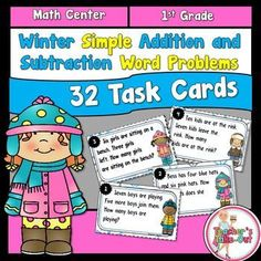 Winter Word Problem Task Cards using Simple Addition and Subtraction includes 30 Task Cards. These task cards will have your students practicing solving word problems all winter long! The task cards use number words 1-12. These are great for beginners.