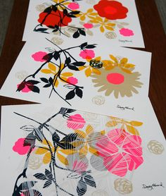 "Dewey Howard prints by Elizabeth Grubaugh ""Floral Silk Screen Wall Art"" 8.5"" x 11"" Floral Collage 4 color screen print. Water based inks on acid free cover paper. Based in Tuxedo Park, NY"