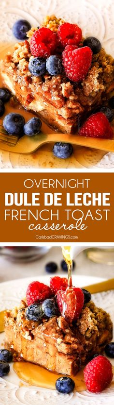 Easy Overnight Dulce de Leche French Toast Casserole infused with wonderfully sweet caramel-like dulce de leche is decadently delicious and all prepared in advance making it ideal for busy or special occasion breakfast. And don't skip the Brown Sugar Pecan Topping - its out of this world!