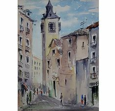 Street Scene in Madrid Watercolor on Chairish.com
