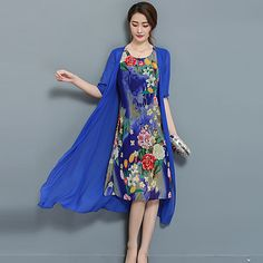 Women's Plus Size Going out Street chic Sheath Dress,Floral Round Neck Midi Short Sleeve Chiffon Satin Summer Mid Rise Micro-elastic 2017 - $21.99