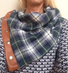 Plaid Flannel with Leather Snap Cowl  by KutKloth on Etsy