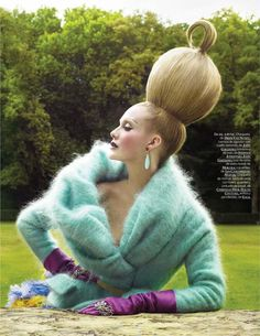 Ruven Afanador for Vogue Italia.  Seafoam angora sweater.  Violet satin gloves.  Editorial.
