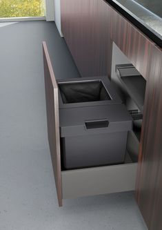 The average waste bin is opened 32 times a day. That sounded like a lot to us – so we developed a waste system that will not cause you hassle every single time you need to use it. Kitchen Reviews, Pull Out Shelves, Waste Disposal, Color Lines, Wood And Metal, Kitchen Organization, Filing Cabinet, Living Area, Household