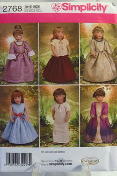 "Simplicity 2768 18"" Fashion Doll Clothes"
