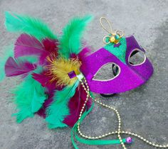 Mardi Gras Purple Green and Gold Masquerade Mask by MysticMoor, $18.00