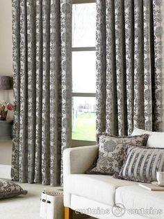 Grey pattern curtains