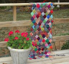 Knit Mitered Square Sock Blanket. Pictures to go along with pattern. Great site! Beautiful blanket!!