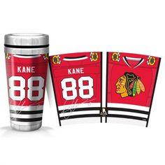 Tasse de voyage de P. Kane des Blackhawks de Chicago. Autres modèles également disponibles.