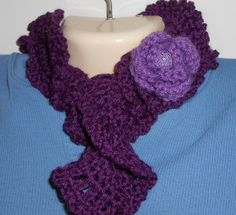 Dark plum curly scarflette with flower accent by CrochetByTeresa, $18.00