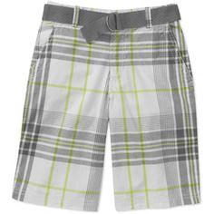 Faded Glory Boys Plaid Flat Front Shorts