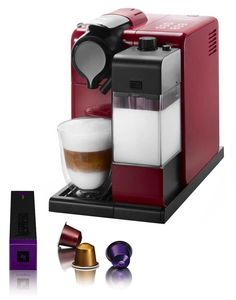 "The DeLonghi Nespresso Lattissima Touch capsule coffee machine in red with patented ""automatic cappuccino system"" system"