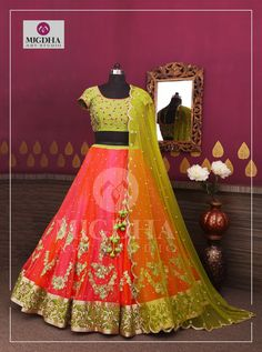 Here comes the Classy Lehenga With Amazing Handmade Work from the Creative House of Mugdha Art Studio. To Order : Please reach out to 8142029190 / For Call: 8899840840 (IVR) . Indian Dresses, Indian Outfits, Lehenga Crop Top, Indian Party Wear, Indian Designer Wear, Indian Designers, Lehenga Designs, Half Saree, Indian Fashion