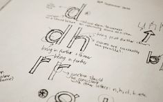 Researches and sketches for a typeface design.