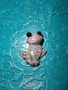 Aurora Borealis Frog Brooch/ Pendant by FionaRoseVintage on Etsy, $19.00