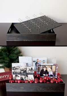 Customizable escort and seating card display that can be reused for holiday cards!