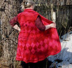 Купить Жилет длинный Красный - ярко-красный, жилет вязаный, жилет длинный…