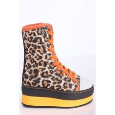 LEOPARD NEON ORANGE QUILTED FUR LINING PLATFORM LACE UP ANKLE SNOW BOOTS