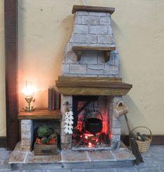 Puppenhaus-Kamin FieldStone von FirecraftMiniatures
