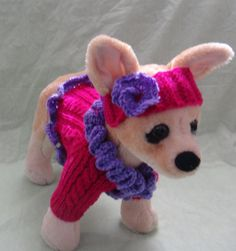 Pet Clothes Spring Outfit Sweater and Headband  for Small Dogs Hand Knitted XS Size