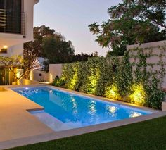 exotic house pool lighting lawn design tiles - Garten - Women's Need Swimming Pool Lights, Swimming Pool Designs, Outdoor Swimming Pool, Swimming Pools, Residential Landscaping, Small Backyard Landscaping, Landscaping Ideas, Pool Landscape Design, Garden Design