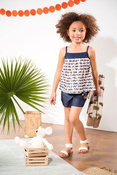 #top en #dentelle et #coton imprimé froncé - Collection Frilly Girl - www.shop-orchestra.com