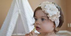 Shabby Chic Ivory Baby Headband | Handmade in 4 Sizes!