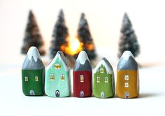 Little green and grey winter/Christmas clay house with by rodica