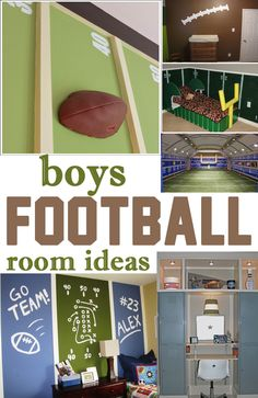 Football Themed Bedrooms for Boys! Decor & Furniture Ideas Project for Malachi's new room. Alp Alp Hampshire Scaggs Not sure I am ready for this :-/Project for Malachi's new room. Alp Alp Hampshire Scaggs Not sure I am ready for this :-/ Football Theme Bedroom, Football Room Decor, Boys Football Room, Boy Sports Bedroom, Kids Bedroom, Football Themed Rooms, Kids Rooms, Football Wall, Lego Bedroom