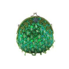 Emerald Green Round Teardrop Sequin Clutch