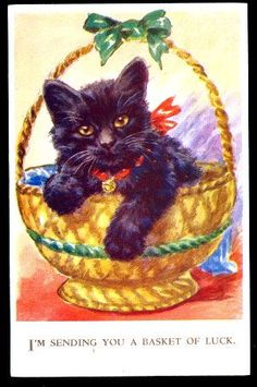 Black Cat in Basket by Valentines 1907 Postcard  GOOD LUCK! The usual black cat what it is but this one is LUCKY! Really nice old postcard  Unused  Valentines Series Circa: 1907 Condition: Unused Publisher: Valentines