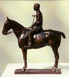 "Charles Cary Rumsey (American, 1879-1922)  Polo Player on Pony: Skiddy Von Stade  Bronze  18″ x 17″ x 6""  Edition 14/25  $6000        Listed in Charles Cary Rumsey, Burchfield Center catalogue. Pg.no.33,  illustration no. 64        The mallet  is in 2 pieces and  each screw directly into the hand of Skiddy.    Butcher's wax is recommended for cleaning and buffing!!    http://chisholmgallery.com/rumsey-charles"