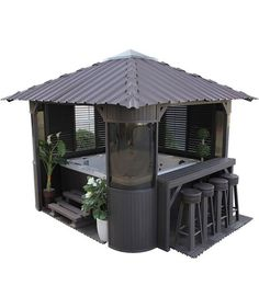 Canadian Spa Co. Fraser Gazebo is the perfect companion for your spa. Our Gazebo will turn your backyard into a entertainment centre. Available in coffee Hot Tub Privacy, Hot Tub Gazebo, Hot Tub Deck, Patio Table, Backyard Patio, Backyard Ideas, Outdoor Spa, Outdoor Living, Jacuzzi Outdoor