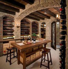 Dining Room Table Decor, Dining Room Design, Room Decor, Wine Cellar Basement, Home Wine Cellars, Wine Cellar Design, Wine Tasting Room, Small Room Design, Beautiful Dining Rooms