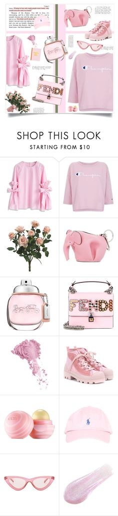 """think pink"" by young-kwon ❤ liked on Polyvore featuring Chicwish, Champion, Loewe, Coach, Fendi, Bésame, Acne Studios, Eos, Le Specs and Lipstick Queen"