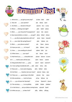 An elementary grammar test for your pupils. They have to choose the correct answer. Verbal tenses: present simple, past simple or present perfect. Hope they find. English Grammar For Kids, English Test, Teaching English Grammar, English Worksheets For Kids, English Lessons For Kids, Kids English, English Activities, Grammar Lessons, English Language Learning