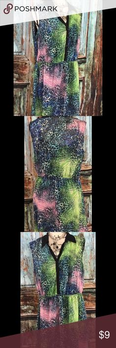 Dress  size 15/17 colorful new with tag A fun colorful dress that is fun for summer! You can wear it as a dress or with leggings. Through a blazer on and dress it up for the office! New with tag never worn. Lightweight and flirty. no boundaries Dresses Mini