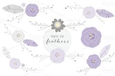 Check out Feathers + Flowers in Lilac Clip Art #clipart #feathers