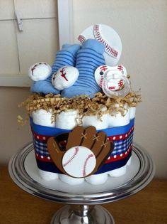 Red, White and Blue Baseball Mini Diaper Cake - Baby Boy Shower Gift, Single Tier via Etsy