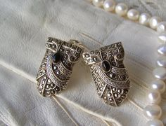 Antique Sterling Duette Brooch Dress Clips Shoe by cynthiasattic