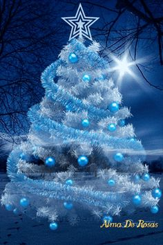 Very beautiful Christmas tree in white and blue colors. Christmas Scenery, Noel Christmas, Christmas Wishes, Christmas Pictures, Winter Christmas, Christmas Tree Decorations, Vintage Christmas, Christmas Mantles, Xmas