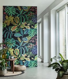 60 Best Ideas Of Tropical Wall Mural For Summer. Popular tropical wall murals create the illusion of paradise in your home. They can bring sunshine and warmth into a room with no windows or help stave. Tropical Wall Decor, Tropical Wallpaper, Botanical Wallpaper, Mural Art, Wall Mural Painting, Painted Wall Murals, Wall Paintings, Wall Wallpaper, Wallpaper Designs For Walls