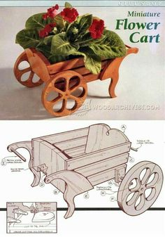 Wooden Cart Plans - Wooden Cart Plans , Miniature Flower Cart Plan Woodworking Plans and Projects Small Woodworking Projects, Small Wood Projects, Woodworking Box, 3d Laser Printer, Wooden Cart, Flower Cart, Wood Plans, Wood Crafts, How To Plan