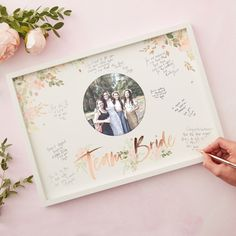 Team Bride guestbook frame with photo JGA/bridal party party decoration gift idea Hen Party Decorations, Bridal Shower Decorations, Bridal Shower Games, Rose Gold Frame, Rose Gold Foil, Party Frame, Book And Frame, Bachelorette Party Games, Party Guests
