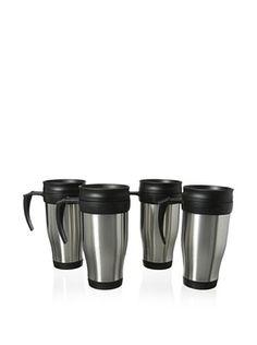 55% OFF Cilio Premium Set of 4 Travel Mugs, Silver