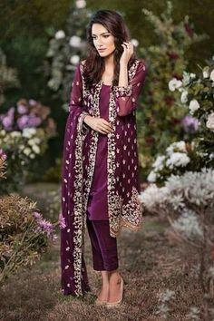 Buy Dark Purple Embroidered Chiffon Dress by Mina Hasan Casual Indian Fashion, Indian Fashion Dresses, Dress Indian Style, Indian Wear, Fashion Outfits, Teen Fashion, Pakistani Couture, Pakistani Dress Design, Pakistani Outfits