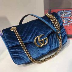 Gg Marmont, Chain Shoulder Bag, Luxury Bags, Chevron, Gucci, Velvet, Blue, Fashion, Bags