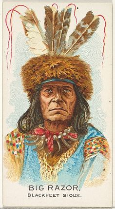 Big Razor, Blackfeet Sioux, from the American Indian Chiefs series (N2) for Allen & Ginter Cigarettes Brands