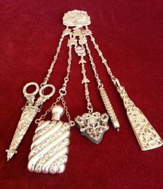 Victorian silver Chatelaine with Oriental Chinoiserie Decoration. Needlework scissors Scent bottle Pin cushion Aide Memoire Pencil
